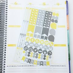 Yellow & Grey Collection //  67 Die-Cut Stickers // (Perfect for Erin Condren Life Planners)