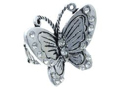 Bohemian Austrian Crystal Silver tone Butterfly Fashion Stretch Ring Fast Ship