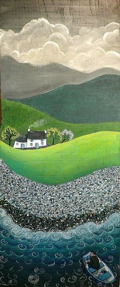 I like this folk art.Valériane Leblond is a French artist living in Wales. She paints on wood mainly and creates images of the rural landscape, coastal villages and their people at work. Illustration Art, Illustrations, Wow Art, Naive Art, Art Plastique, Fabric Art, Landscape Art, Oeuvre D'art, Textile Art