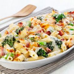Cheesy Ham And Broccoli Pasta Bake With Penne Pasta, Broccoli Florets, Butter, Flour, Milk, Shredded Cheese, Shredded Cheese, Parmesan Cheese, Ham Steak