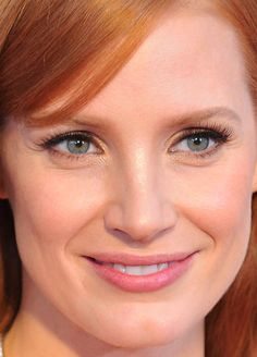 Close-up of Jessica Chastain at the 2015 Oscars.