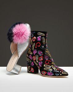 Loeffler Randall Isla Embellished Velvet Block Heel Booties
