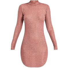 Laila Rose Gold Ribbed High Neck Bodycon Dress (19 NOK) ❤ liked on Polyvore featuring dresses, vestidos, red gold dress, rose gold dress, ribbed dress, ribbed high neck dress and body conscious dress