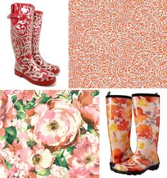 Floral Boots and wallpaper combination Floral Boots, Rubber Rain Boots, Cowboy Boots, Wallpaper, Shoes, Design, Fashion, Moda, Zapatos