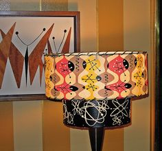 VTG 50s ARCHAIC SMILE MID CENTURY MODERN ATOMIC SMALL/MEDIUM TWO TIER LAMP SHADE