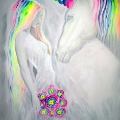 Princess and unicorn, acrylics on canvas fluorescent painting