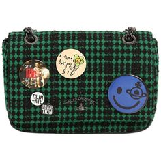 Vivienne Westwood Women Medium Avon Plaid Wool Bag With Pins ($400) ❤ liked on Polyvore featuring bags, handbags, shoulder bags, green, green handbags, plaid shoulder bag, plaid purse, green shoulder bag and green purse