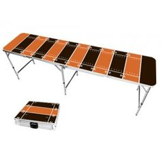 Orange & Brown Football Field 8 Foot Portable Folding Tailgate Beer Pong Table from TailgateGiant.com
