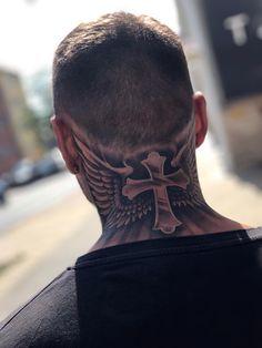 Neck tattoo is flames. Best Neck Tattoos, Head Tattoos, Music Tattoos, Sleeve Tattoos, Cool Tattoos, Beautiful Tattoos, Back Of Neck Tattoo Men, Wing Neck Tattoo, Back Tattoo