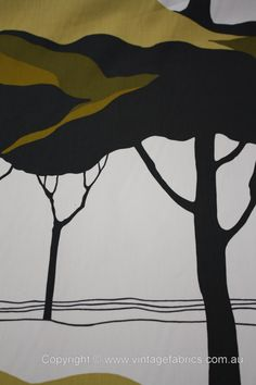 Tampella Apia - Marjatta Seppälä Tree Patterns, Textures Patterns, Print Patterns, Tree Illustration, Graphic Illustration, Vintage Textiles, Vintage Patterns, Scandinavian Fabric, Conversational Prints