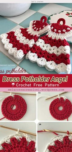Dress Potholder Angel Christmas Free Crochet Pattern - - These super cute Angel Christmas Ornament Free Crochet Pattern will make a great addition to your collection of Christmas decorations. Crochet Crafts, Crochet Projects, Crochet Potholders, Free Crochet Potholder Patterns, Crochet Angel Pattern, Crochet Angels, Knit Dishcloth, Crochet Hot Pads, Crochet Sheep
