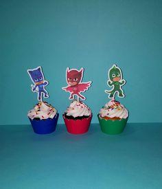 12 PJ máscaras Cupcake Toppers PJ máscaras por PishPoshPartique