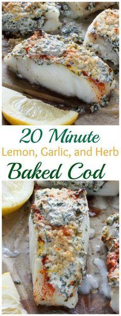 20 Minute Lemon Garlic and Herb Baked Cod - easy healthy and so delicious! 20 Minute Lemon Garlic and Herb Baked Cod - easy healthy and so delicious! Fish Dinner, Seafood Dinner, Seafood Bake, Think Food, Halibut, Food To Make, Food And Drink, Healthy Eating, Dinner Healthy