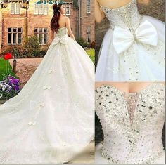 Ball Gowns Handmade Crystal Beaded Bodice Cathedral by DiyDress, $599.99