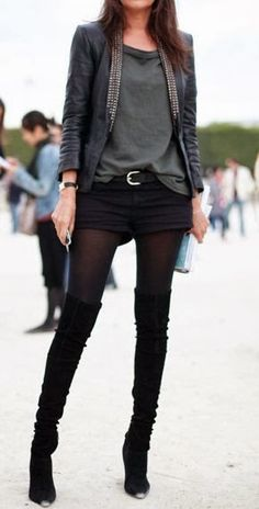 Black suede over the knee boots and shorts. Classic
