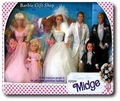 Midge Wedding party. Midge, Barbie, Skipper, Todd, Alan, and Ken giftset.
