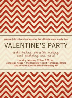Painted Chevrons - Valentine's Day Party Invitations in a bold Firecracker Red