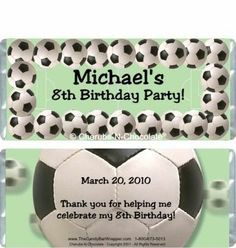 The Candy Bar Wrapper - Soccer Candy Wrappers, $0.87 (http://www.thecandybarwrapper.com/soccer-candy-wrappers.html)