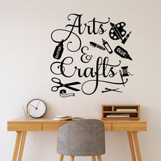 """Hobby Wall Decal Arts And Crafts is a whimsical way to decorate your crafting room walls. Makes a great gift for a Seamstress or Crafter. Overall size 22"""" x 22"""" CHOOSE YOUR COLOR FROM DROP DOWN MENU *For Color reference please see second picture for our chart. *IMAGES DISPLAYED ARE FOR REFERENCE ONLY AND MAY NOT REFLECT EXACT SIZE AND/OR COLOR. We will gladly send color samples if requested prior to ordering. Thank you for shopping at Walls-That-Talk! We are not responsible for any direct, indir Diy Crafts Room Decor, Craft Room Signs, Bedroom Crafts, Vinyl Crafts, Craft Rooms, Sewing Room Design, Sewing Rooms, Room Wall Painting, Hobby Room"""