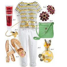 A Buzzworthy Summer Outfit | Friends will buzz about your sweet get-up inspired by the Natural World Dessert Plate. | SouthernLiving.com