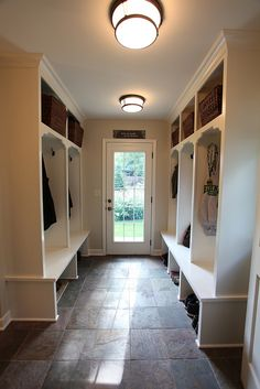 Mudroom lockers - wonder if it's better open like this, or with doors?