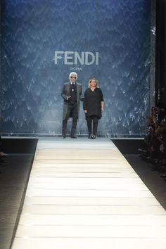 Fendi Spring 2014 Ready-to-Wear at Milan Fashion Week.   Karl Lagerfeld and Silvia Venturini Fendi.