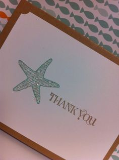 Starfish beach wedding thank you note cards by stampingblock, $30.00