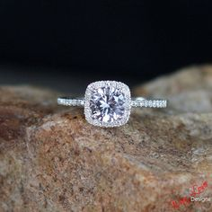 White Sapphire & Diamond Halo Engagement ring Cushion 1 ct 6mm White, Yellow, Rose gold-Custom made size-Wedding-Anniversary-Layaway 14k-18k