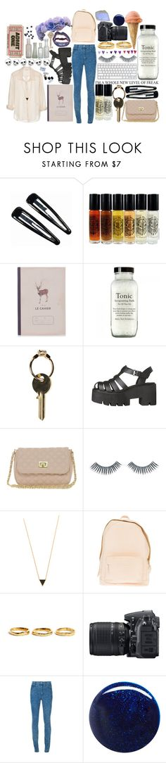 """so don't you bring me down today♪"" by lookathebrightside ❤ liked on Polyvore featuring American Vintage, Clips, Katy & June, Maison Margiela, ASOS, Napoleon Perdis, Gorjana, PB 0110, Estelle Dévé and Nikon"