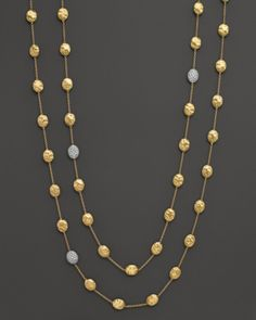 Marco Bicego Siviglia 18k Yellow Gold Necklace with Diamond Stations