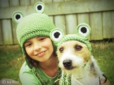 Handmade crocheted frog hat set.  Hop to it and check this super cute frogs hat set out for your kid and your dog or cat!  It is made out of high quality acrylic yarn, so easy to care for, machine washable and dry.  Starting at $ 55.00 CAD