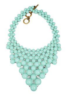 Beaded Bib Necklace - Mint