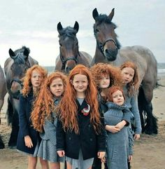 A bunch of lovely redheaded girls and horses on the beach in Ireland.