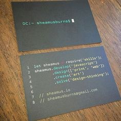 Sweet business cards!! #functionaljs #java #python #php #underscorejs #telerik #javascript #codeholicshk #js #geek #hk #programmer #developer #coder  #jsdev #dotnet #codeaholics #school #css #coding #stem #javascript #education #technology #code #coffee #apple #nutrition #motivation