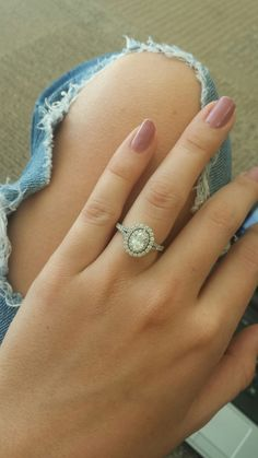 Neil Lane. Oval engagement ring. Double halo.