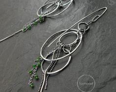 Long earrings - raw sterling silver and Tsavorite or Ruby