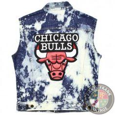 Chicago Bulls Bleached Denim Vest Sz S | F as in Frank Vintage Clothing