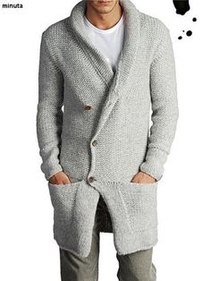 Men-039-s-Hand-Knitted-Cardigan-XS-S-M-L-XL-XXL-jacket-Wool-Hand-Knit-sweater-2y