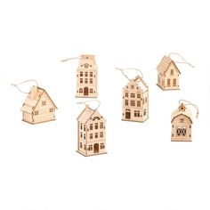 3 Pack Wooden House Boxed Ornaments Set Of 2 by World Market House Ornaments, Holiday Ornaments, Holiday Decor, Winter Holidays, Christmas Holidays, Christmas Crafts, Xmas, World Market Store, Wooden Snowflakes