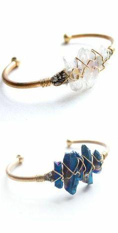 Raw Crystal Wire Cuff ♥
