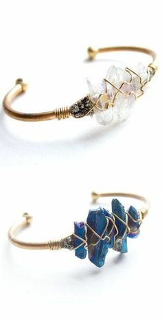 Raw Crystal Wire Cuff ..interesting way of attaching beads, stones, etc..might have to try it