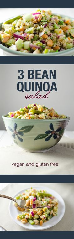 3 Bean Quinoa Salad with a lime dressing - this vegan and gluten free recipe…