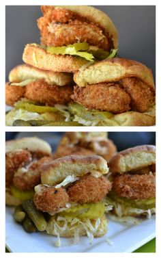 Shrimp Poor Boy Sliders | They're like mini Po' Boy sandwiches! Love this take on a classic Southern food.