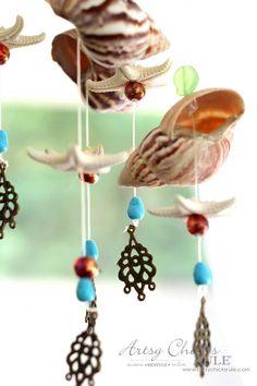 DIY Seashell Wind Chime - Shells & Beads - #windchime artsychicksrule.com