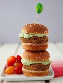 Lentil-Chickpea Burgers with Avocado Yogurt Sauce adapted from Feast by Sarah Copeland
