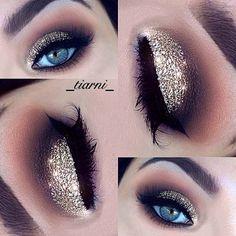 Gold Glitter Eye Makeup Look for Blue Eyes