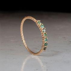 Gold Emerald Ring - Half eternity ring rings