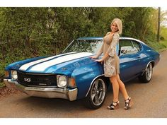 1972 Chevrolet Chevelle with a pretty girl Chevy Chevelle Ss, American Muscle Cars, Chevy Classic, Classic Cars, Hot Rods, Up Auto, Chevy Girl, Chevy Muscle Cars, Pt Cruiser