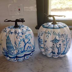 """Two more #pumpkin #blueandwhite #chinoiserie out the door!"""