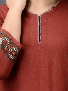 Red Embroidered Flax Kurta with Zari Embroidery On Kurtis, Kurti Embroidery Design, Hand Embroidery Dress, Embroidery Fashion, Applique Dress, Kurti Sleeves Design, Kurta Neck Design, Plain Kurti, Yellow Kurti